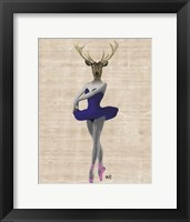 Ballet Deer in Blue II Framed Print