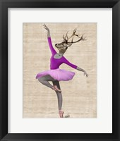 Ballet Deer in Pink II Framed Print