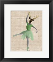 Ballet Deer in Green II Framed Print