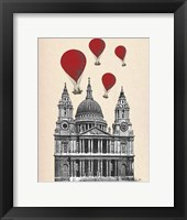 St Pauls Cathedral and Red Hot Air Balloons Framed Print