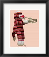 Sock Monkey Playing Trumpet Framed Print