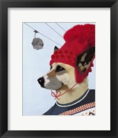 Dog in Ski Sweater Framed Print