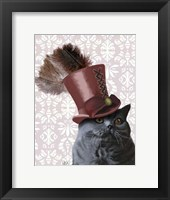 Grey Cat With Steampunk Top Hat Framed Print