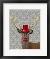 Framed Deer With Red Hat and Moustache