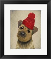 Border Terrier with Red Bobble Hat Framed Print