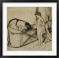 Framed Woman Cleaning a Tub and a Nude, 1908