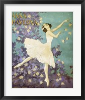 Framed Design for a Poster of Anna Pavlova Gouache