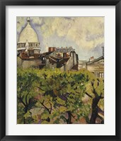 Framed Sacre-Coeur Seen from the Garden of Rue Cortot, 1916