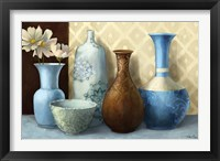 Soft Blue Vase Framed Print