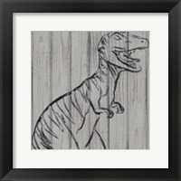Dino On Wood I Framed Print