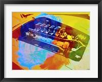 Framed Ferrari Engine Watercolor