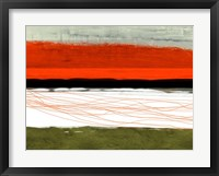 Abstract Stripe Theme Orange and Black Framed Print