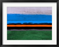 Abstract Stripe Theme Orange and Blue Framed Print