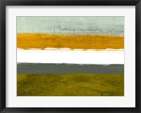 Abstract Stripe Theme Yellow and White Framed Print