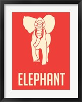 Elephant White Framed Print