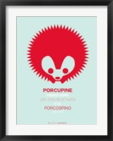 Red Porcupine Multilingual Framed Print