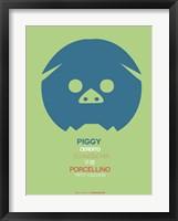 Blue Piggy Multilingual Framed Print