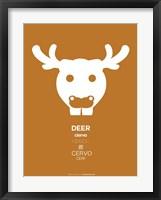 White Moose Multilingual Framed Print