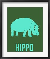 Framed Hippo Blue