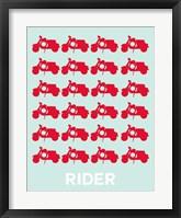 Framed Vespa Rider Red
