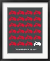 Framed Vespa Rider Red and Grey
