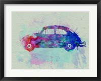 Framed VW Beetle Watercolor 1