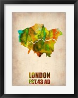 Framed London Watercolor Map 1