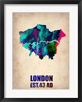 Framed London Watercolor Map 2