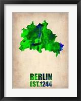 Framed Berlin Watercolor Map