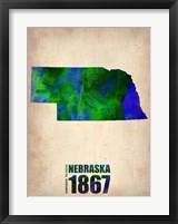 Framed Nebraska Watercolor Map