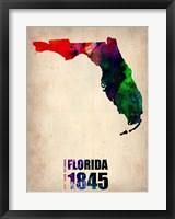 Framed Florida Watercolor Map