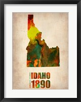 Framed Idaho Watercolor Map