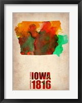 Framed Iowa Watercolor Map