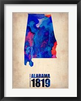 Framed Alabama Watercolor Map