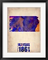 Framed Kansas Watercolor Map
