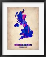Framed United Kingdom Watercolor Map