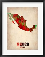 Framed Mexico Watercolor Map