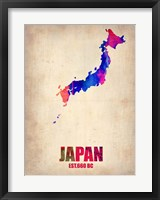 Framed Japan Watercolor Map