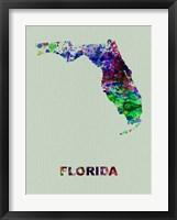 Framed Florida Color Splatter Map