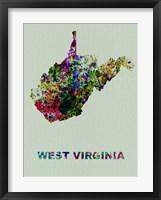 Framed West Virginia Color Splatter Map