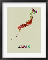 Framed Japan Color Splatter Map