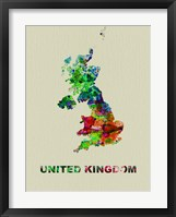 Framed United Kingdom Color Splatter Map