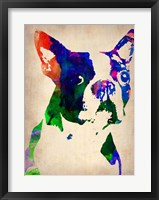 Framed Boston Terrier Watercolor