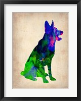 Framed German Sheppard Watercolor