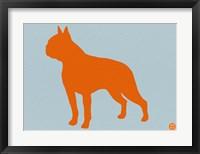 Framed Boston Terrier Orange