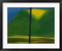 Framed Green Mountain with Yellow