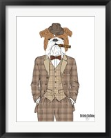 Framed British Bulldog In Tweed Suit