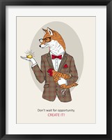 Framed Fox Man In Pin Suit