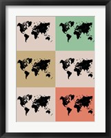 Framed World Map Grid 2