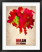 Framed Milan Watercolor Map